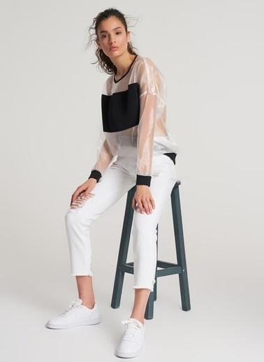 Pi π Organze Sweatshirt Beyaz